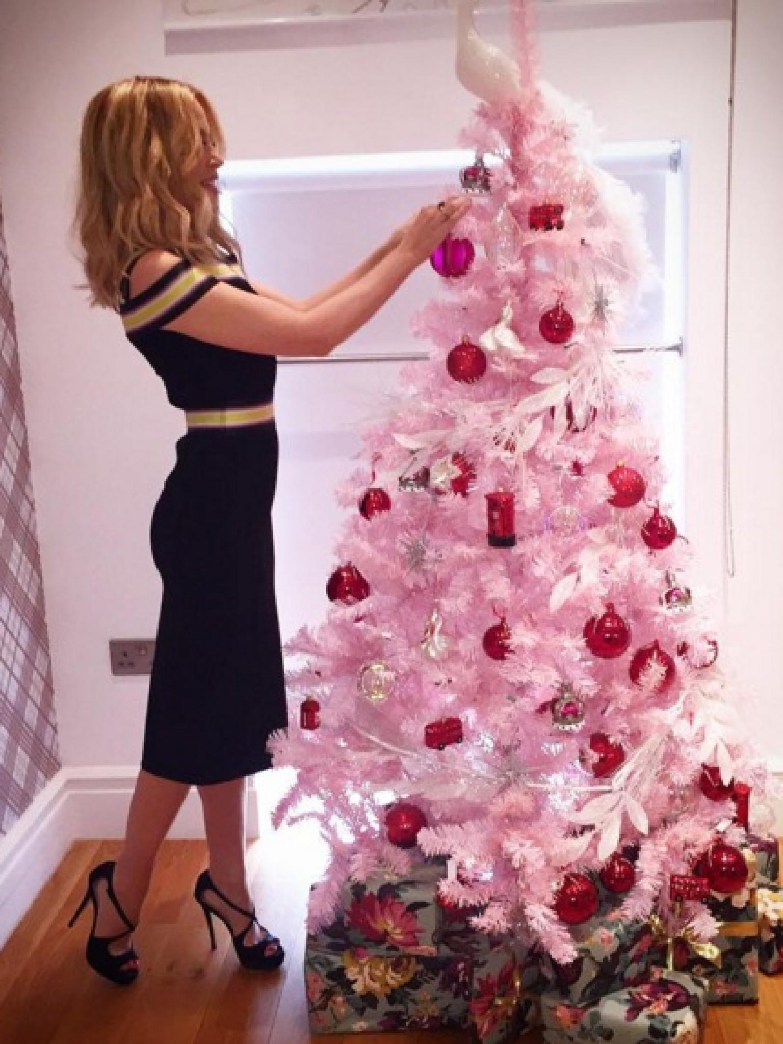 Rosa Weihnachtsbaum.Weihnachten Bei Den Stars Sylvie Meis Kris Jenner Co Geben