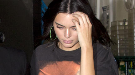 Kendall Jenner wearing Green track suit pants and a black T-shirt with singer 'Shaggy' on it was seen leaving from the backdoor of 'The Nice Guy' bar in West Hollywood, CAPictured: Kendall JennerRef: SPL5012161 250718 NON-EXCLUSIVEPicture by: SPW / S