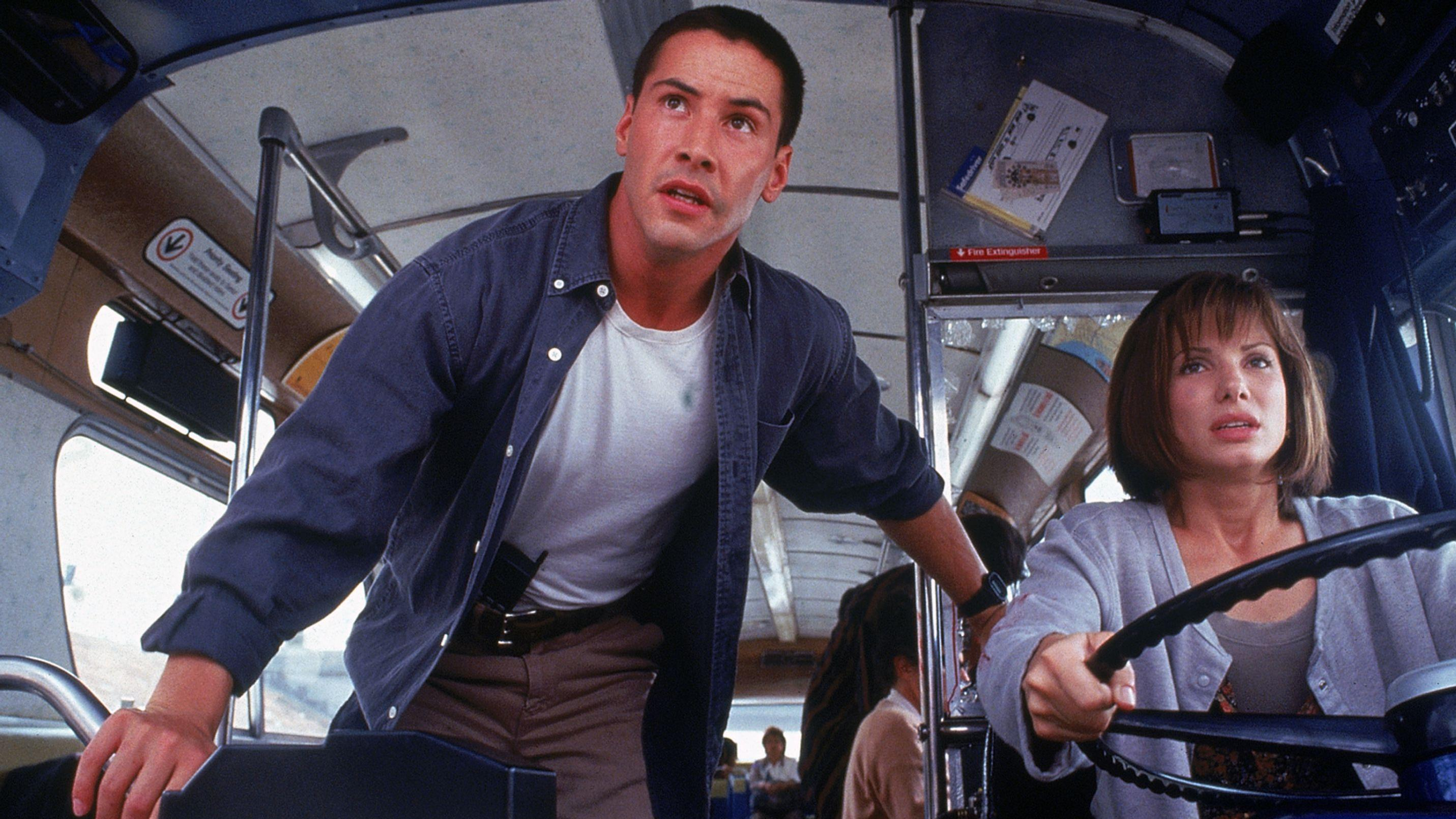 "Keanu Reeves und Sandra Bullock im Blockbuster ""Speed"" (1994)."