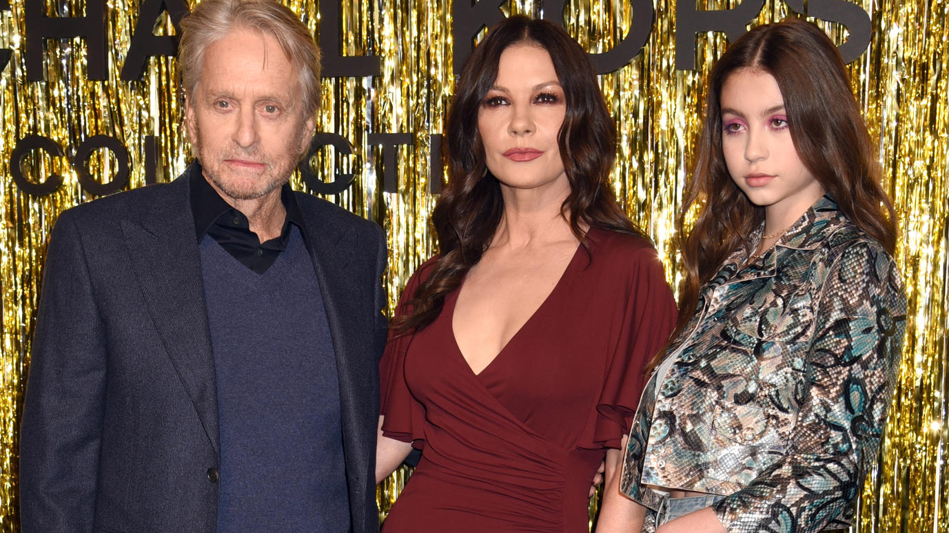 Celebrities attend the Michael Kors Fall 2019 Ready-to-Wear Collection. Held @ Victoria's Secret 5th Ave Store, New York City, NY. February 13, 2019. © Photo Image Press/Splash NewsPictured: Michael Douglas,Catherine Zeta-Jones & Carys Zeta-Dougla