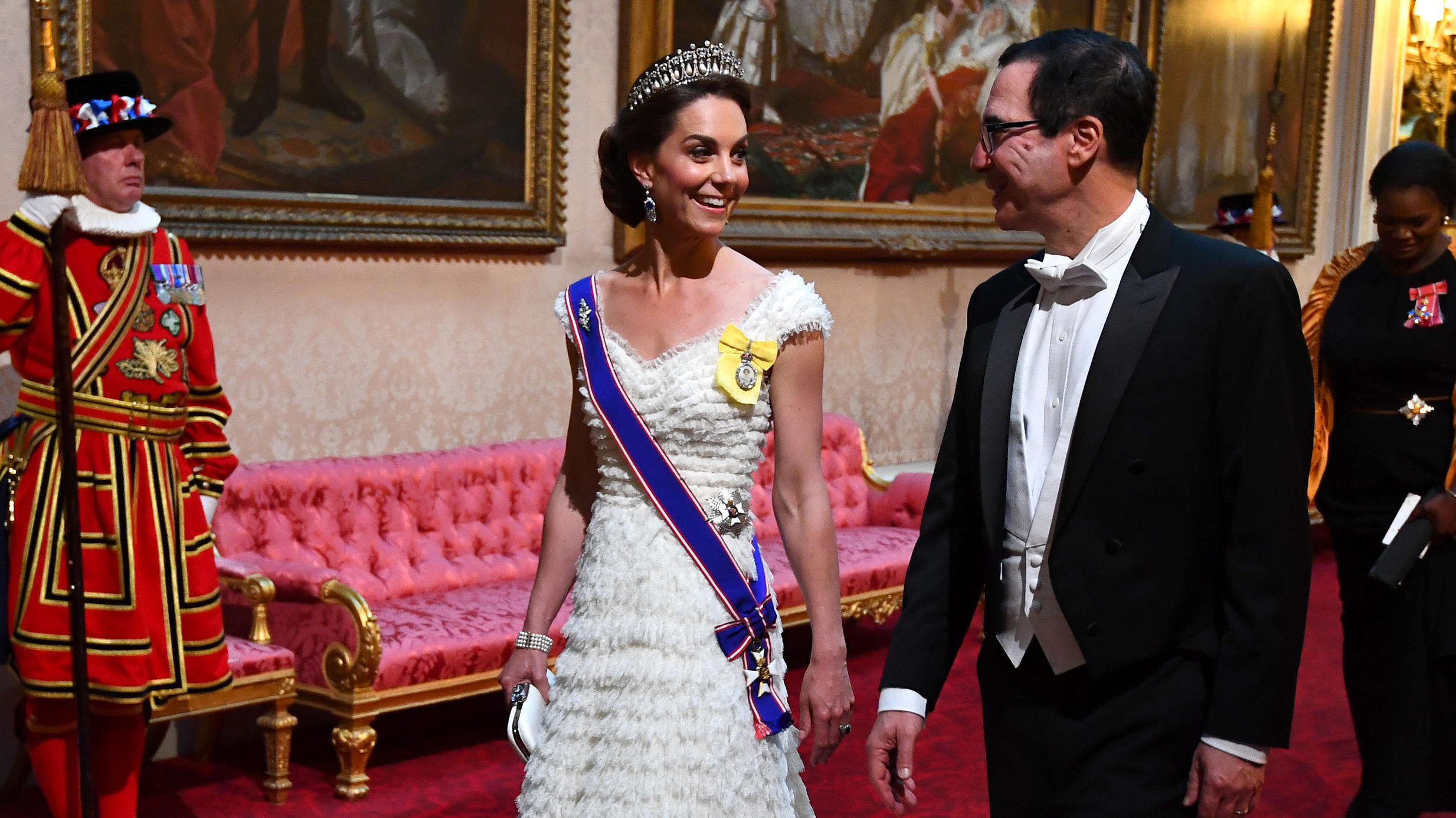Herzogin Kate und Steven Mnuchin beimStaatsbankett im Buckingham Palace in London.