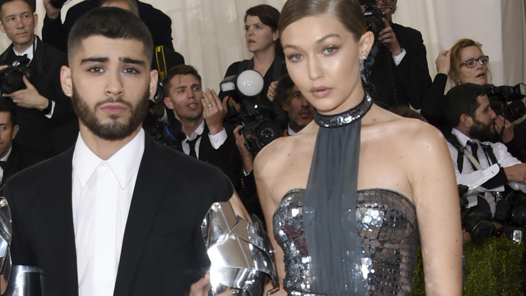 FILE - In this May 2, 2016 file photo, Zayn Malik, left, and Gigi Hadid arrive at The Metropolitan Museum of Art Costume Institute Benefit Gala in New York. The couple took to social media Wednesday, Sept. 23, 2020, to celebrate the arrival of their