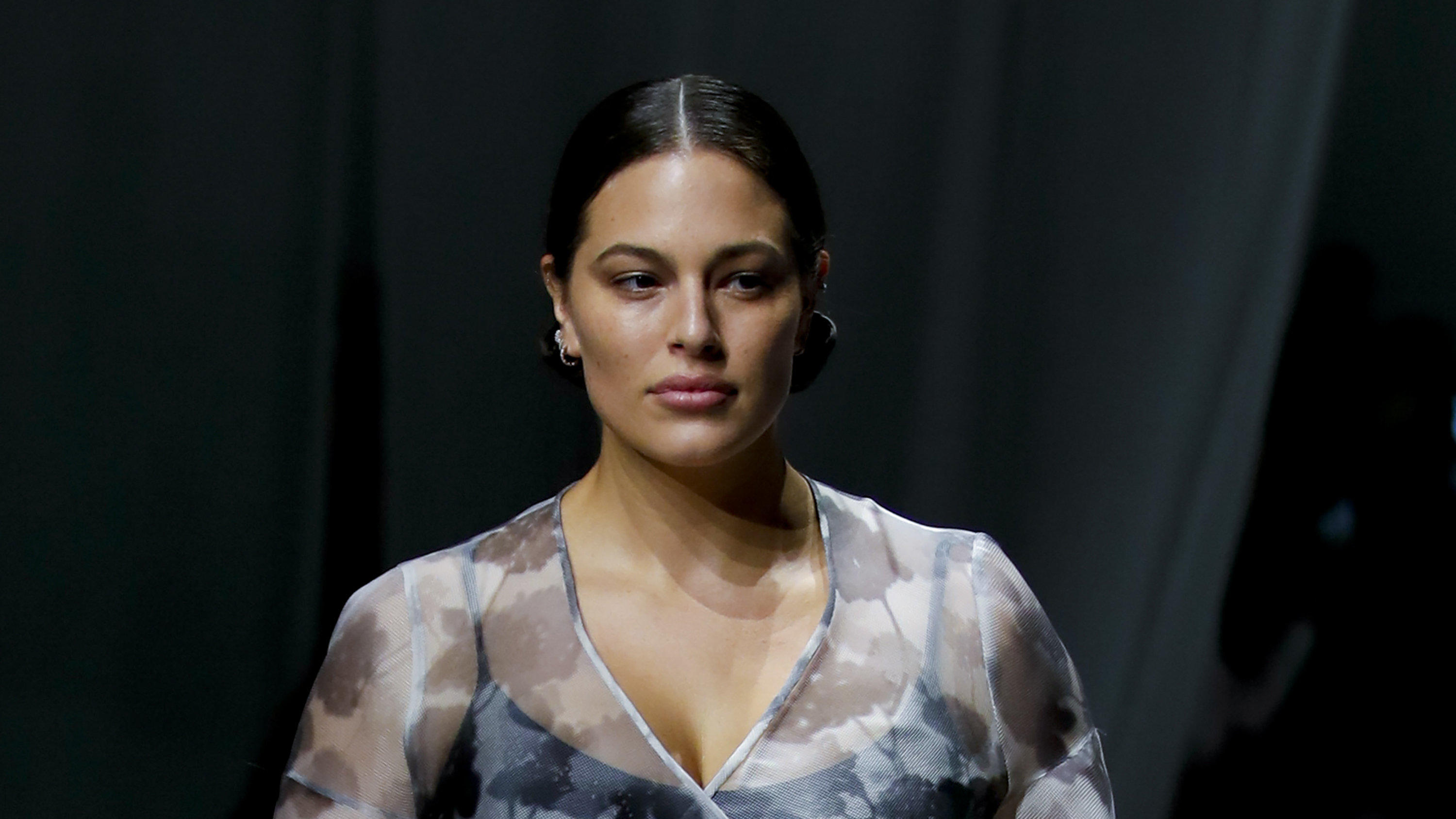 Model Ashley Graham wears a creation as part of the Fendi 2021 women's spring-summer ready-to-wear collection during the Milan's fashion week in Milan, Italy, Wednesday, Sept. 23, 2020. (AP Photo/Antonio Calanni)