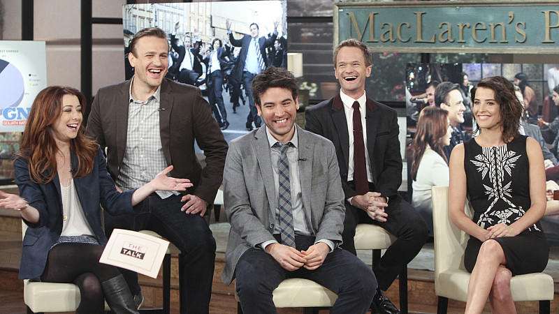"Image #: 26857279    The cast of ""How I Met Your Mother"" gathers to discuss the show'­s 200th episode and final season on THE TALK, Monday, January 27, 2014 on the CBS Television Network. Alyson Hannigan, from left, Jason Segel, Josh Radnor, Neil Pat"