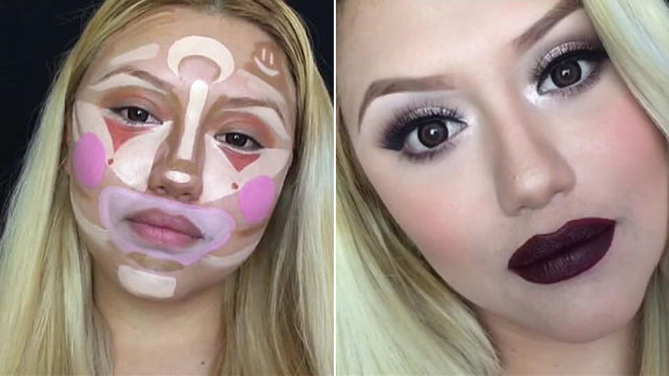 So sieht 'Contouring'-Make-up aus. Bildquelle: Bella de Lune / YouTube.