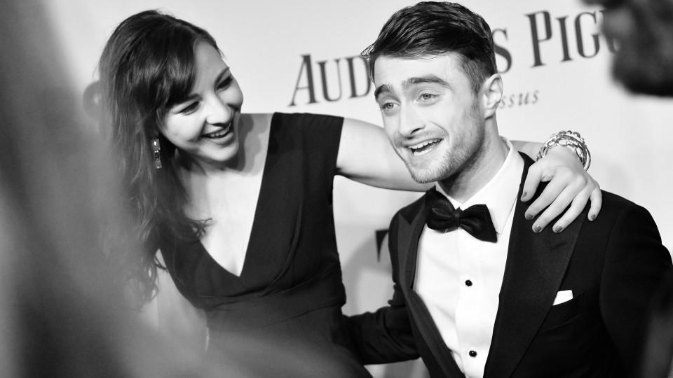 NEW YORK, NY - JUNE 08:  (EDITORS NOTE: Image has been converted to black and white.)  Erin Darke (L) and Daniel Radcliffe attend the 68th Annual Tony Awards at Radio City Music Hall on June 8, 2014 in New York City.  (Photo by Mike Coppola/Getty Ima