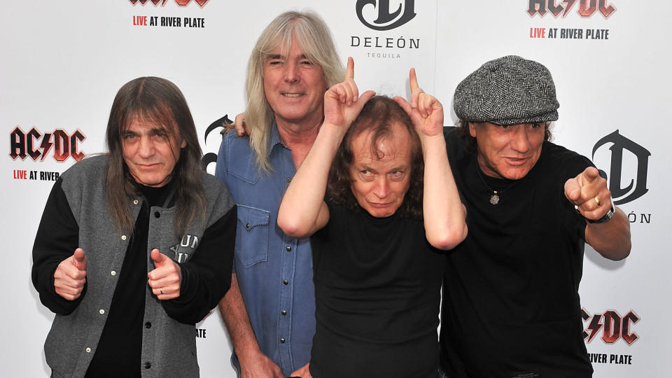 AC/DC at the World Premiere of 'AC/DC Live at River Plate' performance DVD at London's HMV Hammersmith Apollo, on Friday, May.6, 2011.(AP Photo/Mark Allan) |