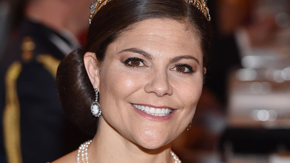 STOCKHOLM, SWEDEN - DECEMBER 10:  Crown Princess Victoria of Sweden attends the Nobel Prize Banquet 2015 at City Hall on December 10, 2016 in Stockholm, Sweden.  (Photo by Pascal Le Segretain/WireImage)