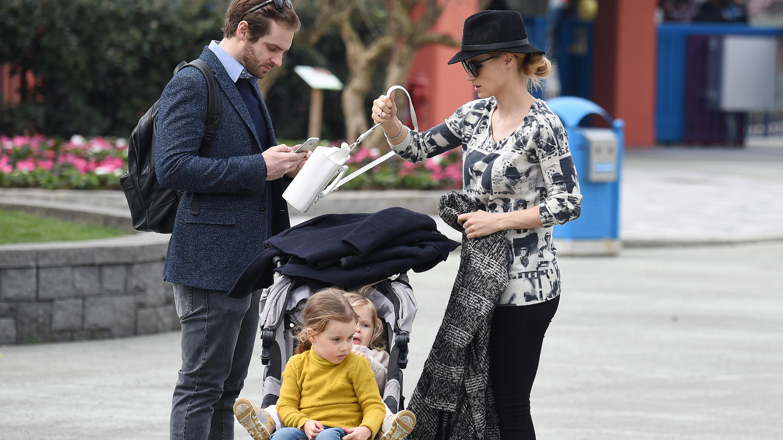 Michelle Hunziker and her family are seen at Leolandia theme park in Bergamo, Italy.