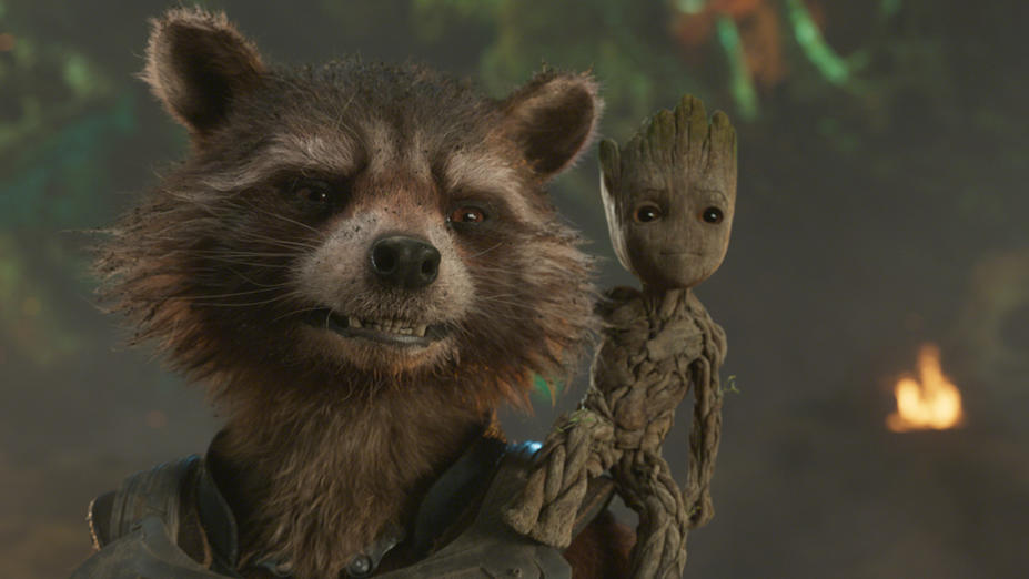 Die animierten Helden der Guardians Of The Galaxy Vol. 2: Rocket und Baby Groot.