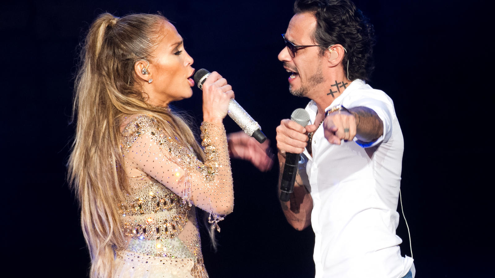Jennifer Lopez rocks the stage in her first ever Dominican Republic concert. The superstar wowed crowds at the historic Altos de Chavon ampitheater as she performed a string of hits alongside ex husband Marc Anthony, as current boyfriend Alex Rodrigu