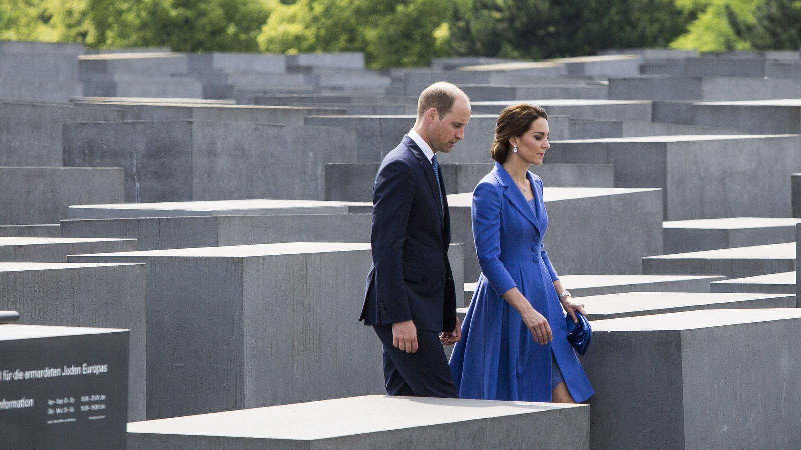 Prince William And Catherine Duchess of Cambridge on their royal tour of Germany. The royal couple visited the Holocaust Memorial in Berlin.