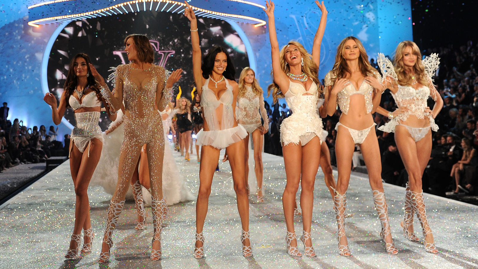 walks the runway at the 2013 Victoria's Secret Fashion Show at Lexington Avenue Armory on November 13, 2013 in New York City.