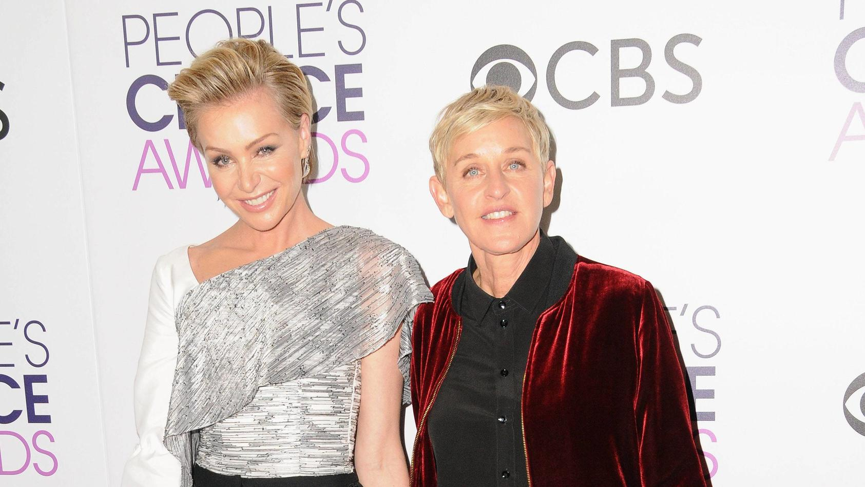 Portia de Rossi, Ellen Degeneres. 2017 People s Choice Awards Press Room held at the Microsoft Theater. Photo Credit: /AdMedia Los Angeles United States P