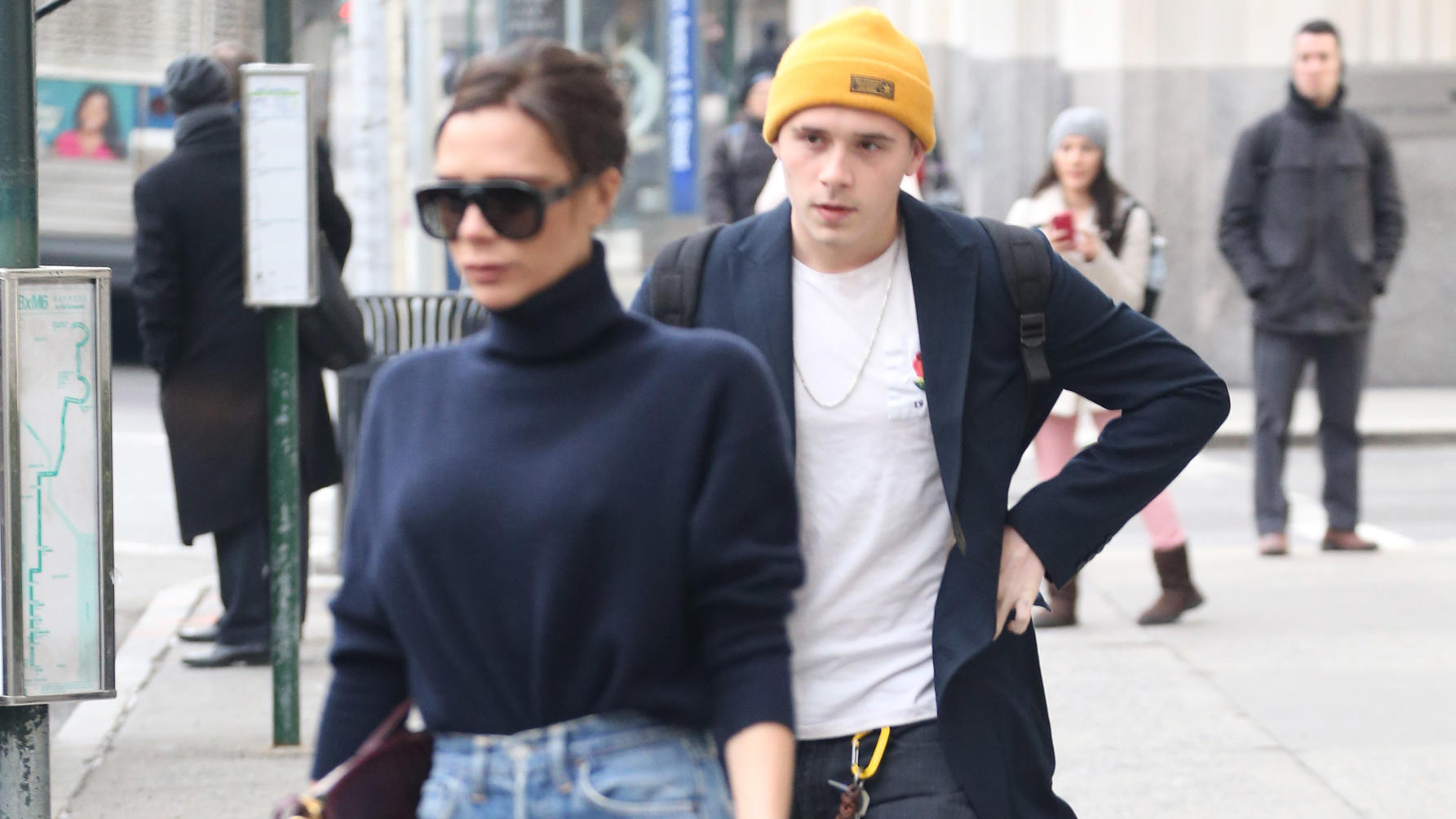 Victoria & Brooklyn Beckham out and about in New York City.