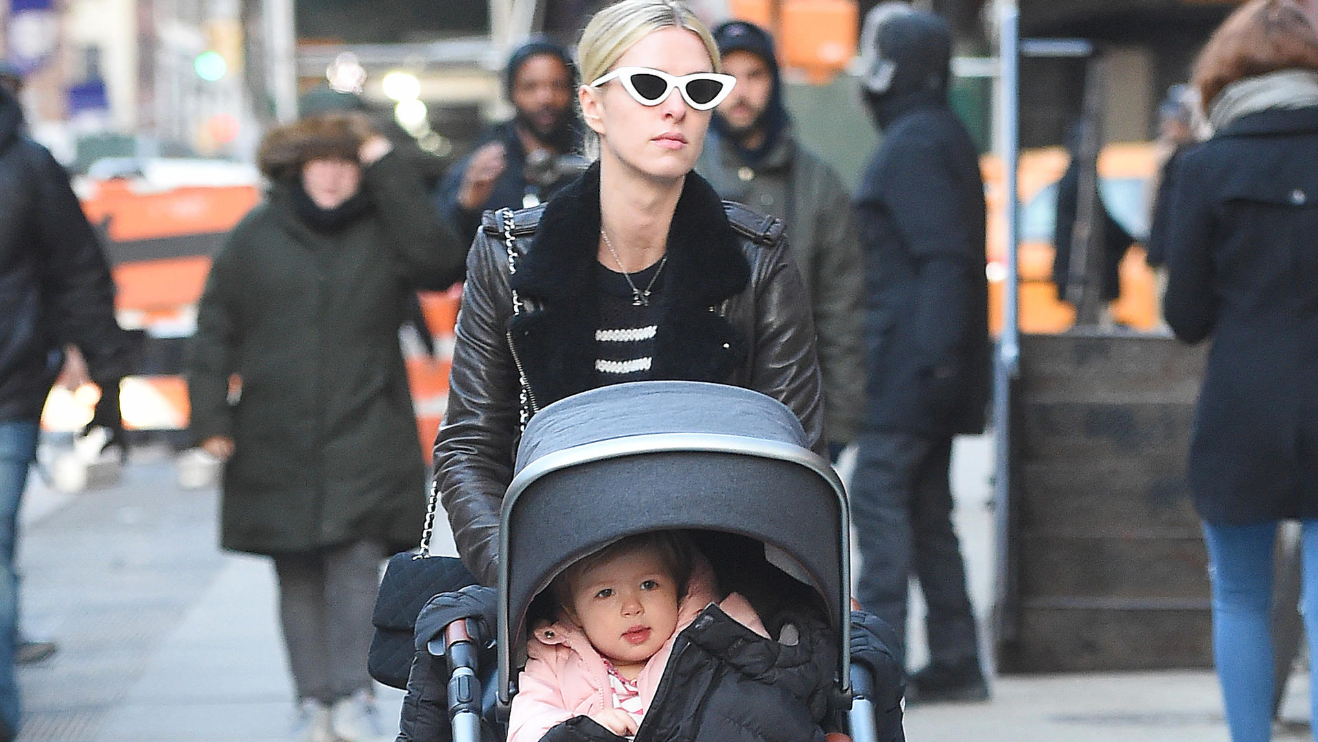 Nicky Hilton and daughter Lily Grace Rothschild take a stroll in New York City