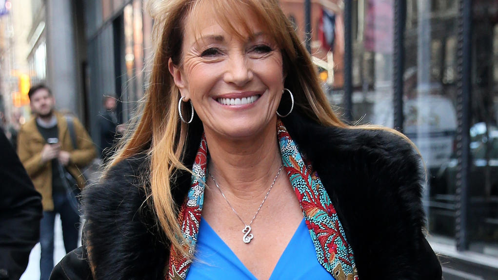 Actress Jane Seymour, wearing a blue dress, arrives at Build Series in New York City, New York on January 23, 2018.