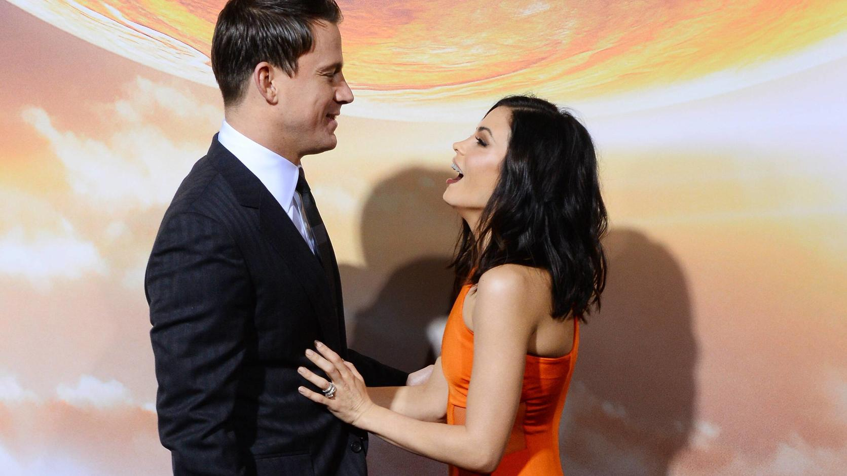 Cast member Channing Tatum and his wife, actress Jenna Dewan Tatum attend the premiere of the sci-fi motion picture Jupiter Ascending at TCL Chinese Theatre in the Hollywood section of Los Angeles on February 2, 2015.  PUBLICATIONxINxGERxSUIxAUTxHUNx